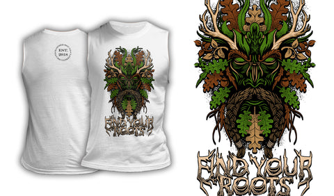 Green Man Find Your Roots - Muscle Shirt White