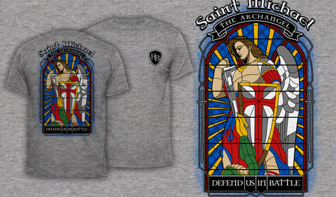 Saint Michael Stained Glass - Men's T-Shirt Heather Gray