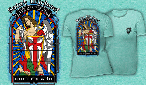 Saint Michael Stained Glass - Women's T-Shirt Heather Mint