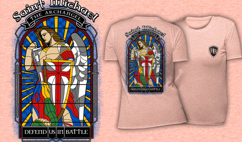 Saint Michael Stained Glass - Women's T-Shirt Heather Peach