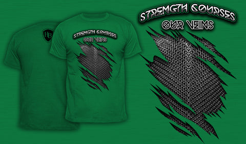 Strength Courses Our Veins - Men's T-Shirt Green
