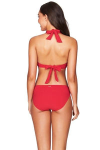 SEA LEVEL - Riviera Rib Multi Fit Halter Bra Top/Red
