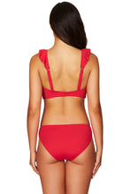 SEA LEVEL - ESSENTIAL FRILL BRA TOP/RED