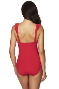 SEA LEVEL - ESSENTIALS FRILL ONE PIECE /RED