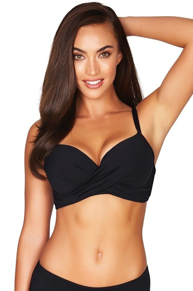 SEA LEVEL - CROSS FRONT MOULDED CUP UNDERWIRE BRA / BLACK