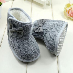 Grey Bow Soft Sole Boots