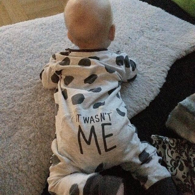 """It Wasn't Me"" Baby Romper - StrawberryDaze"