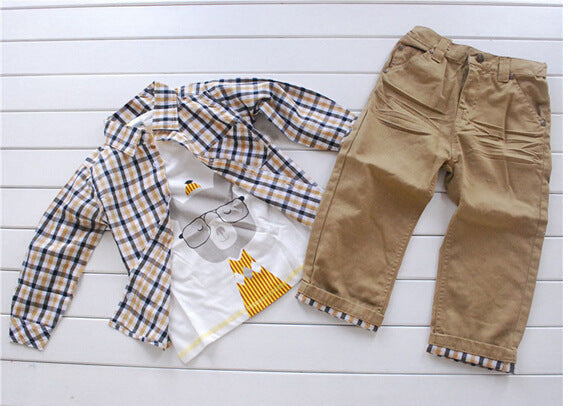 Boys Plaid Shirt 3 Piece Set
