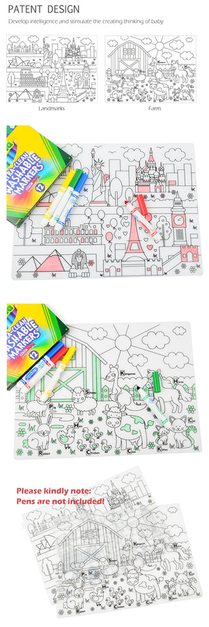Waterproof Silicone Washable Coloring Place Mat