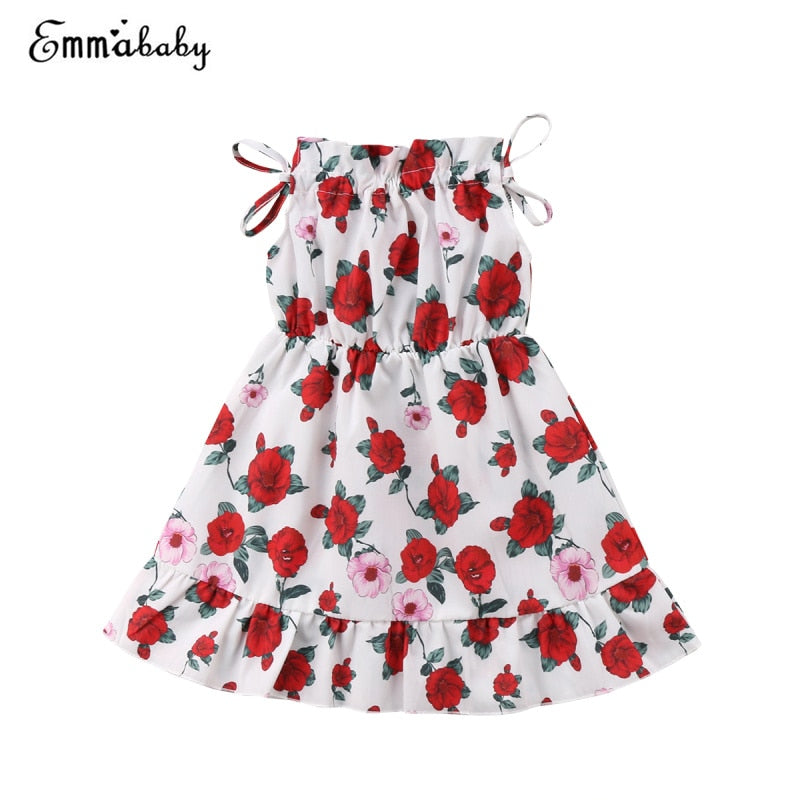 Summer Sleeveless Red Rose Ruffle Sundress