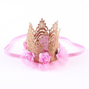 Princess Girl 1st Year Old Head Accessories -  Elastic Flower Crown - StrawberryDaze