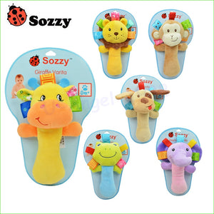 Sozzy Hand Animal Rattle 9 Models Plush Educational Toy 1pcs - StrawberryDaze
