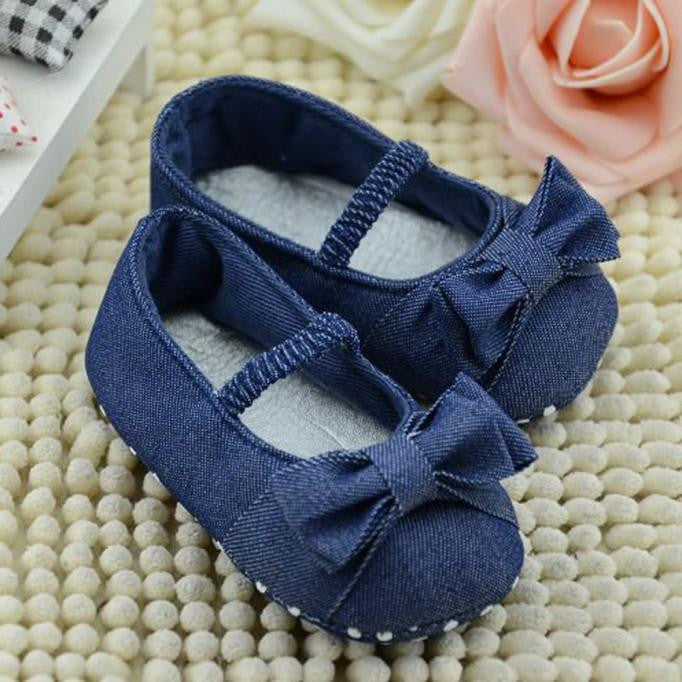 Bowknot Denim First Walkers Girls Shoes - StrawberryDaze