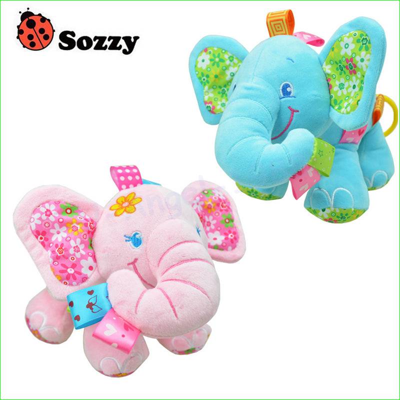 Sozzy Multi-function Elephant Plush Pull Rattle Toys for Cars, Beds & Strollers - StrawberryDaze