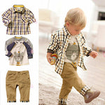 Boys Plaid Shirt, Long Sleeve T-Shirt & Trouser 3 Piece Set - StrawberryDaze