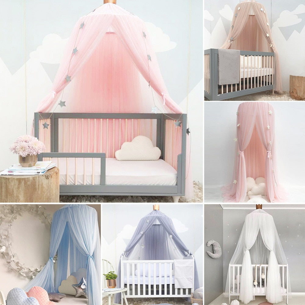 Baby Crib Netting Princess Dome Canopy / Round Lace Mosquito Net