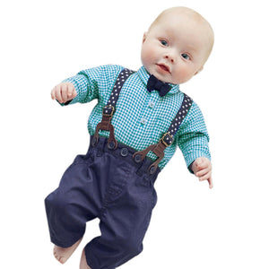 Baby Boy Plaid Formal Clothing Suit Bow Tie Shirt & Suspender Trousers - StrawberryDaze