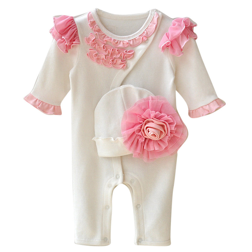 Baby Girl Solid Romper & Hat with Ruffles - StrawberryDaze