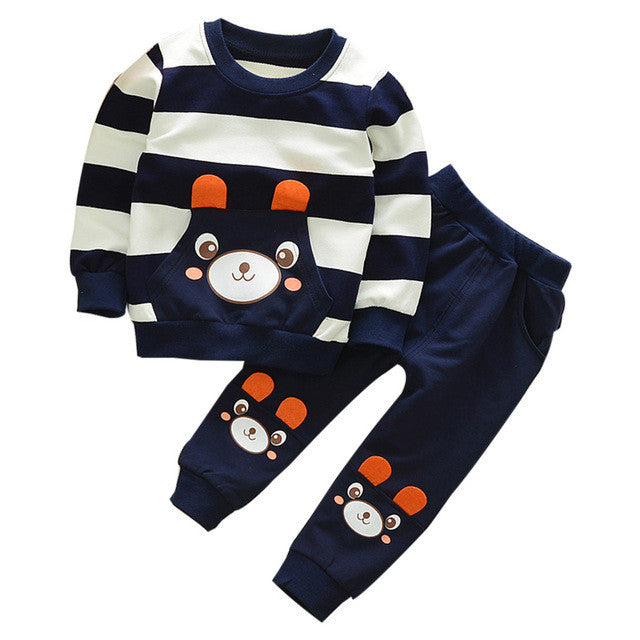 Cotton New Arrival Autumn Winter Kids Clothes Set Striped Bear Outfit 2T - 5YR - StrawberryDaze