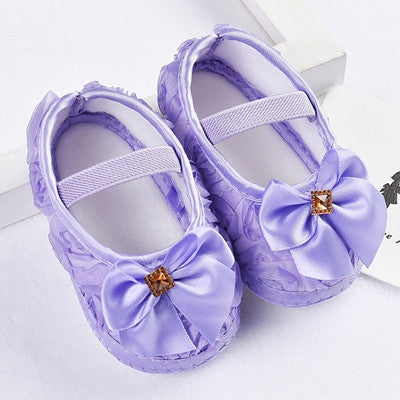 Baby Shoes Girls Ribons Bowknot Infant Soft Sole Walking Shoes Baby First Walker Toddler Shoes - StrawberryDaze