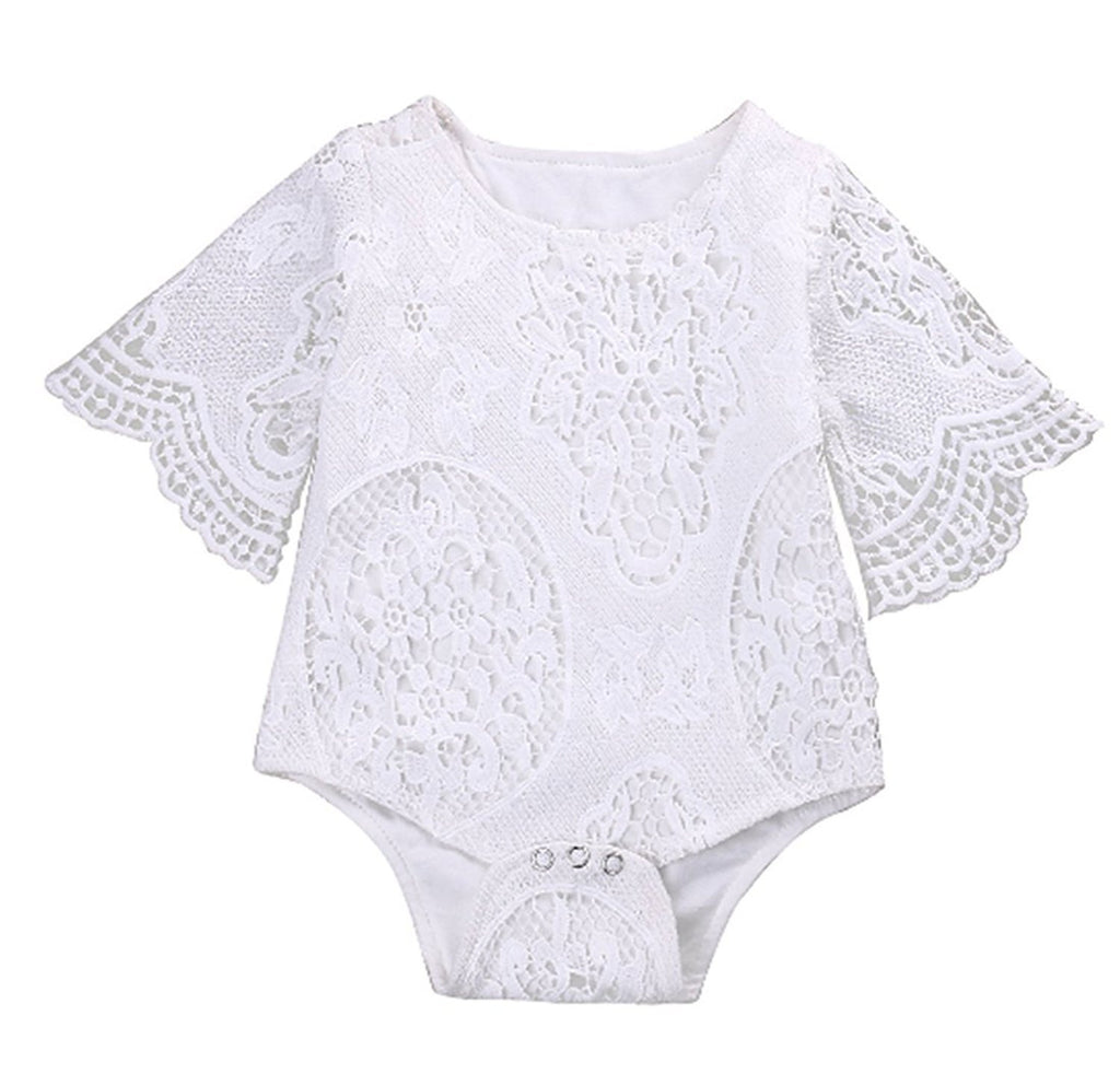 Baby Girls Short Batwing Sleeve Romper - StrawberryDaze