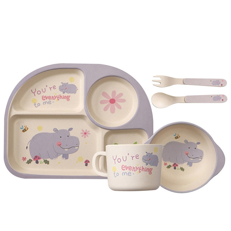 Baby Bamboo Fiber Tableware 5 PCS/set - StrawberryDaze