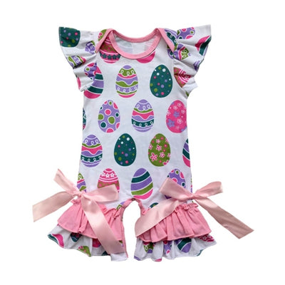 New For Spring! Printed Baby Girls Capris Ruffle Romper 3-24M - StrawberryDaze