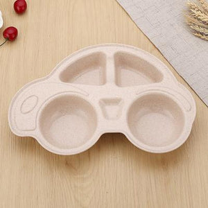 ECO-Friendly Car Bamboo Compartment Plate Baby Feeding Dinnerware Plates - StrawberryDaze