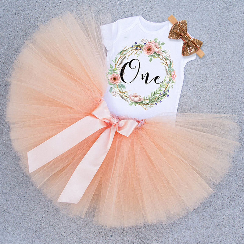 Baby Girls 1st Birthday Party Tutu Dress with Headband
