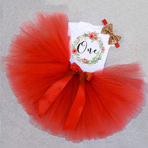 Baby Girls 1st Birthday Party Tutu Dress with Headband - StrawberryDaze
