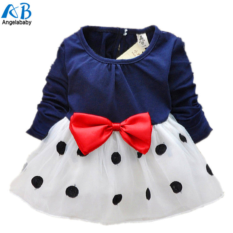 New Cute Baby Girls Dress Cotton and Lace Mini Ball Polka Dot Grown 0-2 Years