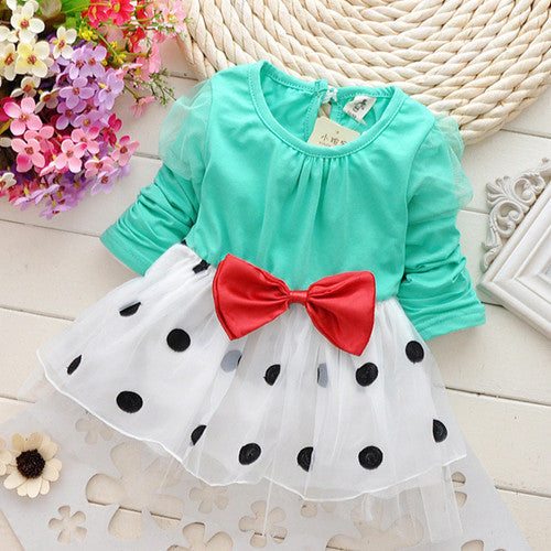 New Cute Baby Girls Dress Cotton and Lace Mini Ball Polka Dot Grown 0-2 Years - StrawberryDaze