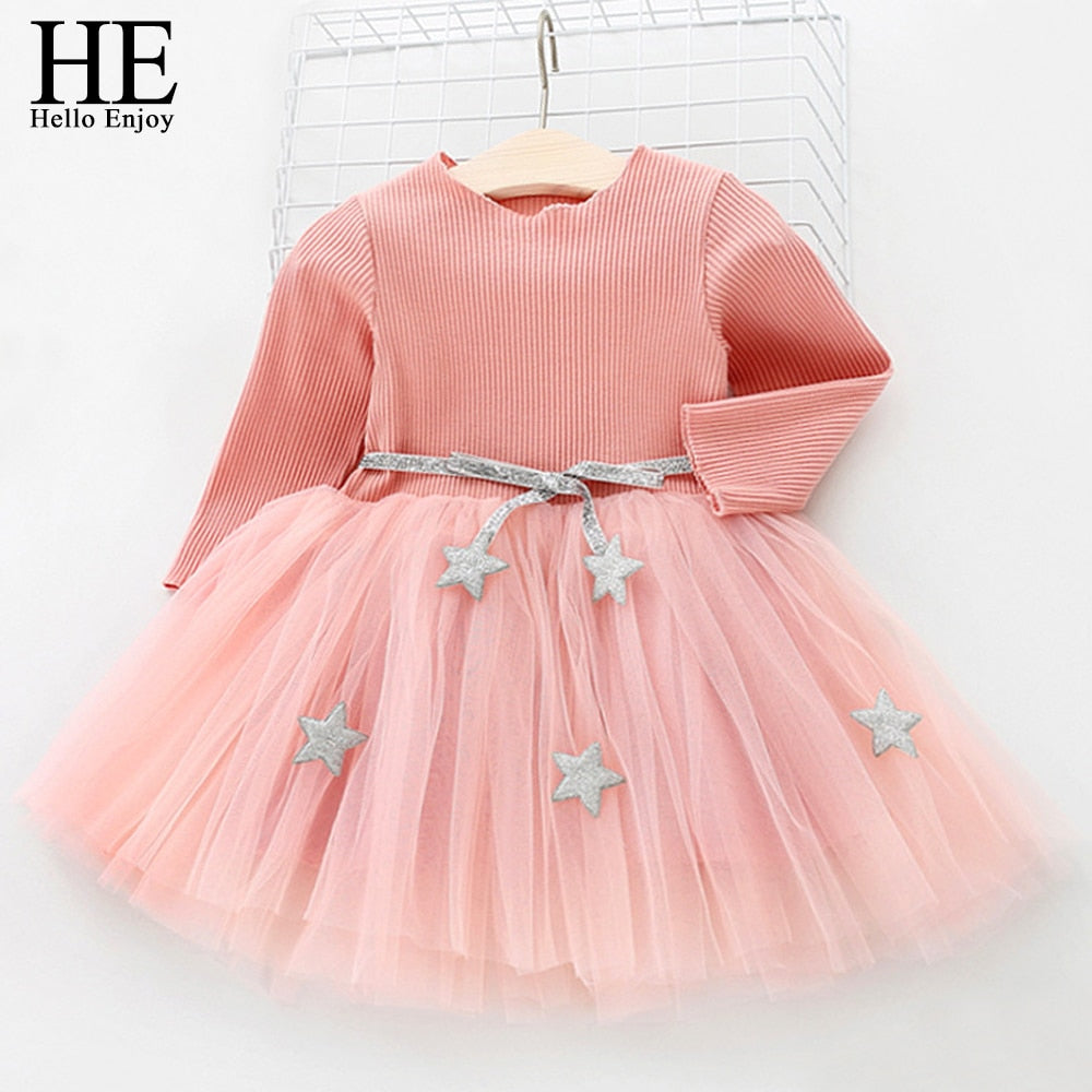 Long Sleeve Solid Ball Gown Party Dress For Baby