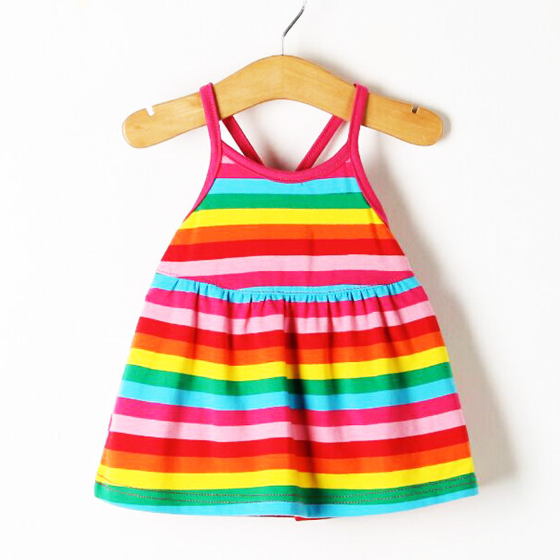 New For Summer! Multi Rainbow Fringe Sleeveless Baby Girls Dress Low Price! - StrawberryDaze