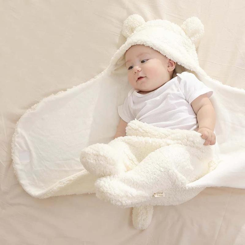 Warm Soft Cartoon Bear Ears Swaddle Wrap