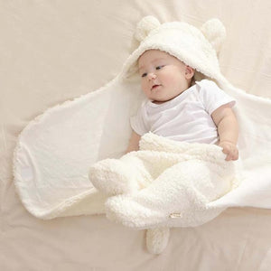 Warm Soft Cartoon Bear Ears Swaddle Wrap - StrawberryDaze