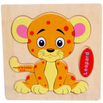 Wooden Leopard Puzzle Educational Developmental Baby Kids Training Toy
