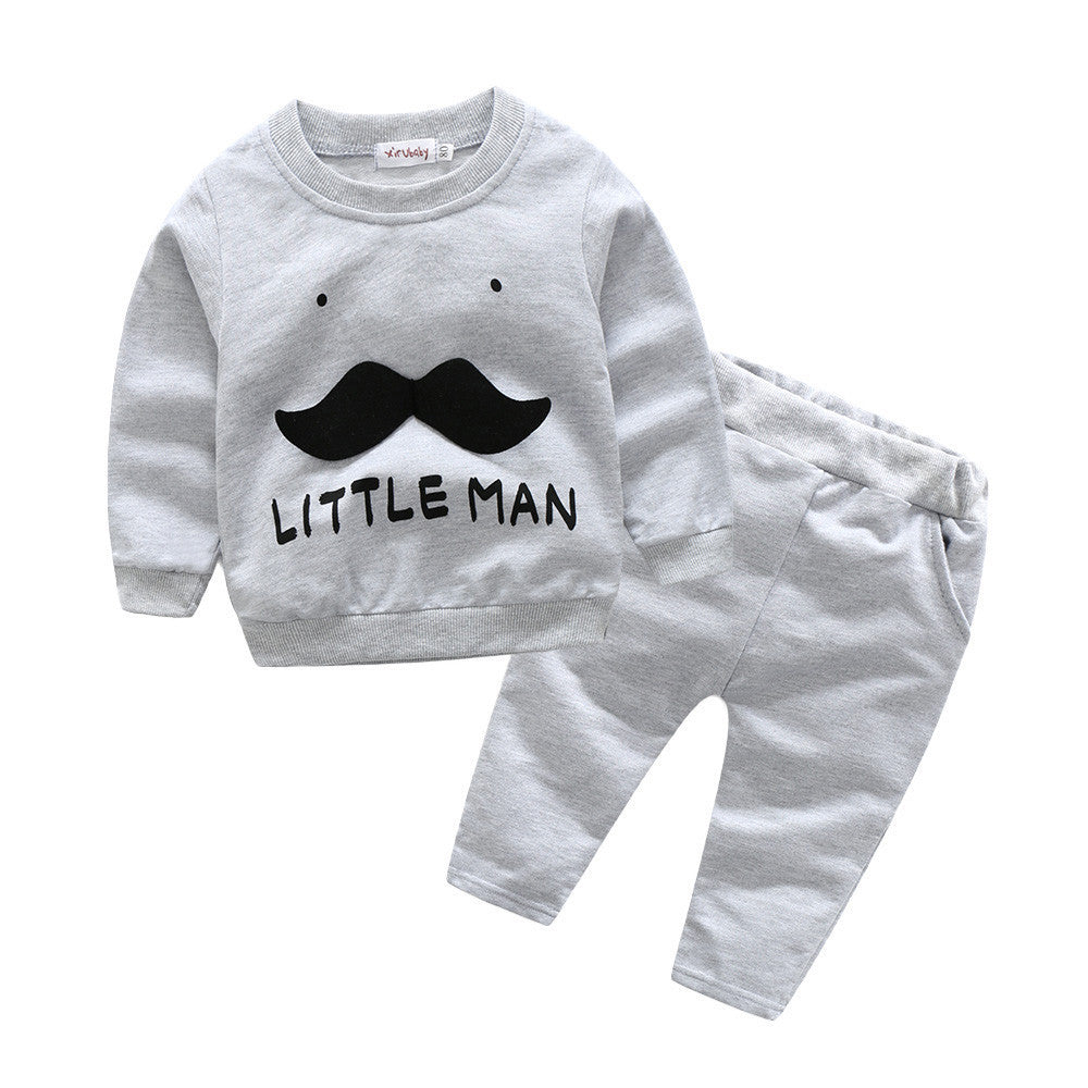 Toddler Baby Boys Letter Beard Decal Tops & Pants 2Pcs Set - StrawberryDaze