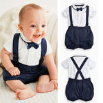 Baby Boys Bow Tie, T-shirt & Bib Pant Set 2Pcs 0-36M - StrawberryDaze