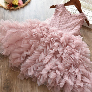 Little Princess Lace Cake Tutu Sashes Dress