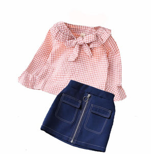 Fashion Plaid Bow Doll Shirt & Hip Skirt Sets - StrawberryDaze