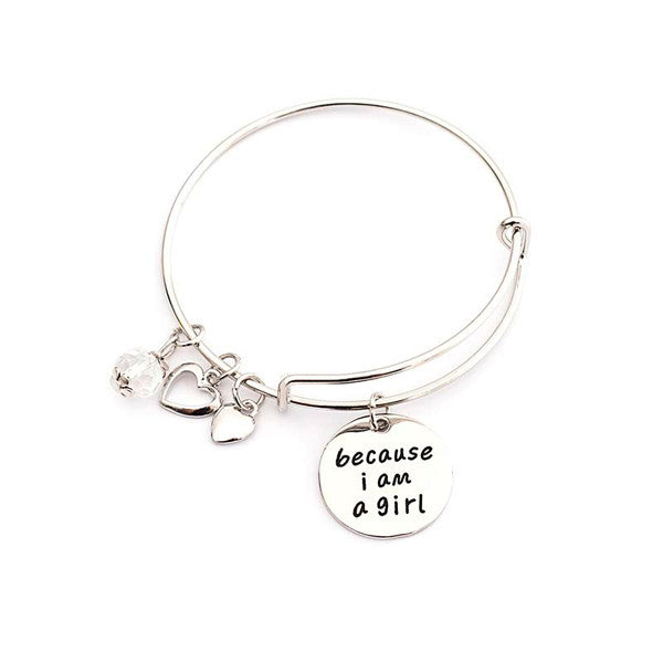 Because I am a Girl Charm Bangle - StrawberryDaze