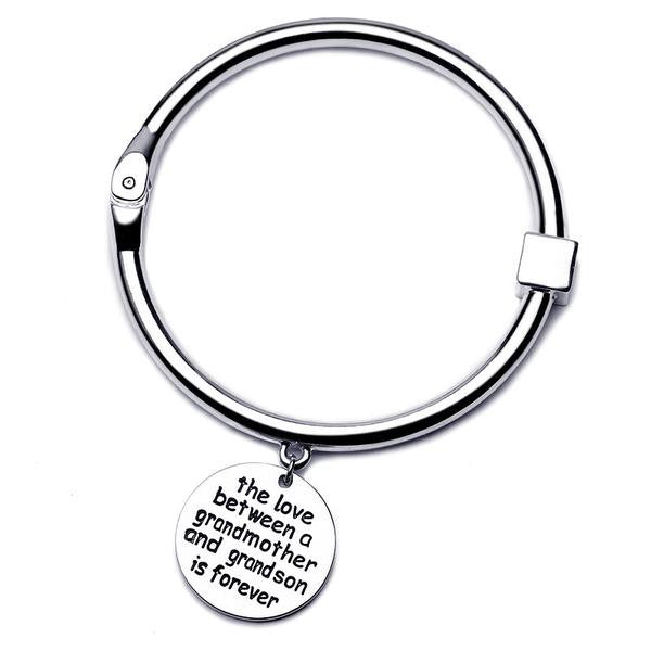 The Love Between Grandmother and Grandson Bangle - Silver - StrawberryDaze