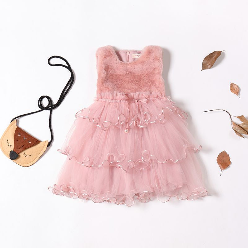 Newest Winter Sleeveless Lace Ball Gown Princess Dress
