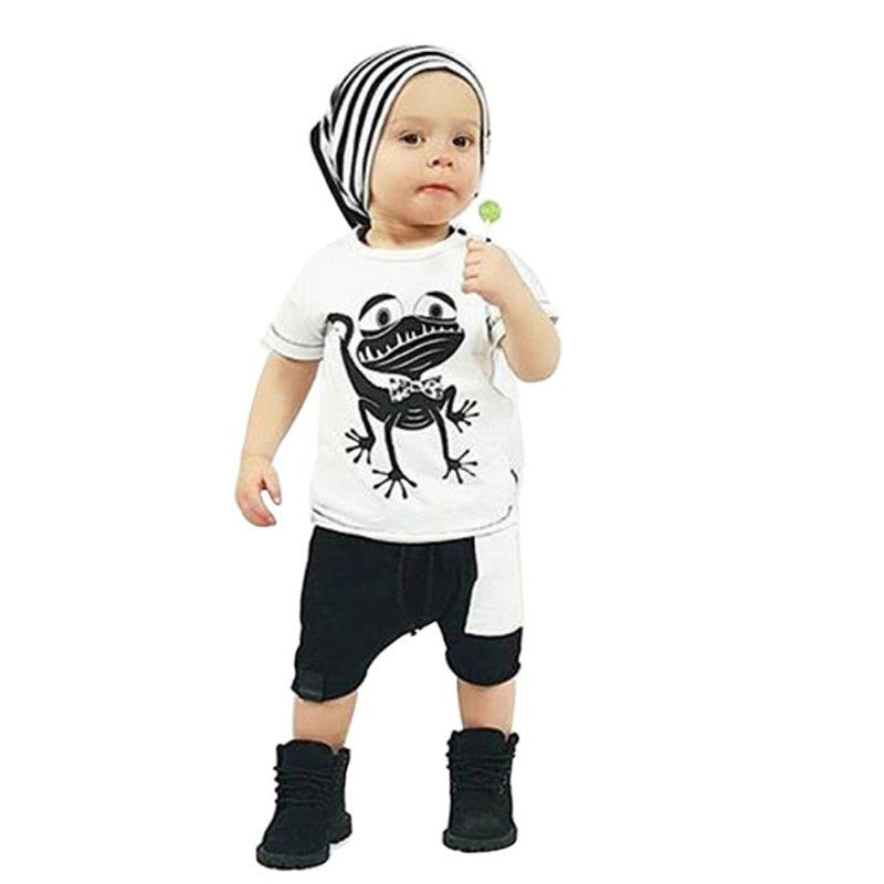 Baby Clothes Set Boys Girls Frog Printed T-shirt Tops & Short Pants Outfits 2 Pcs - StrawberryDaze