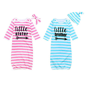Little Brother or Sister Long Sleeves Baby Sleeping Bag Pajama - StrawberryDaze