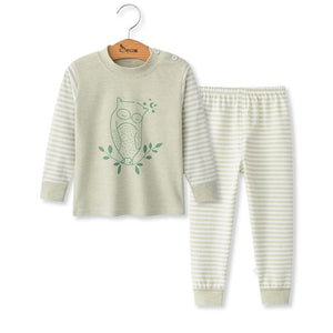 Children Clothes for Baby Boy Girl Pink Rabbit Green Owl Tops & Pants Set - StrawberryDaze