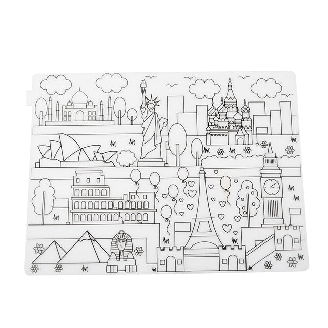 Waterproof Silicone Washable Coloring Placemat - StrawberryDaze
