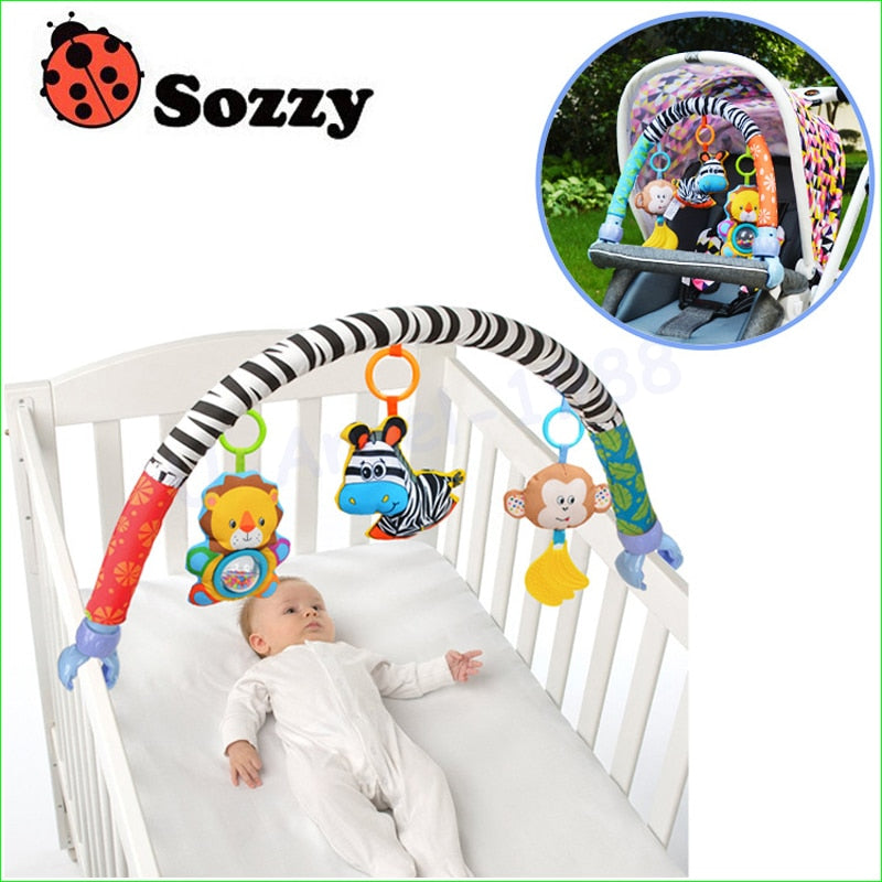 Sozzy Baby Hanging Educational Sensory Toy | Stroller & Crib Interactive Rattle Musical Toy | 0-3 yrs old | 1pcs