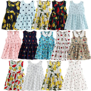Girls Kids Fruit Print Sleeveless Dress